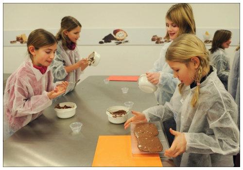 Дети делают шоколад.